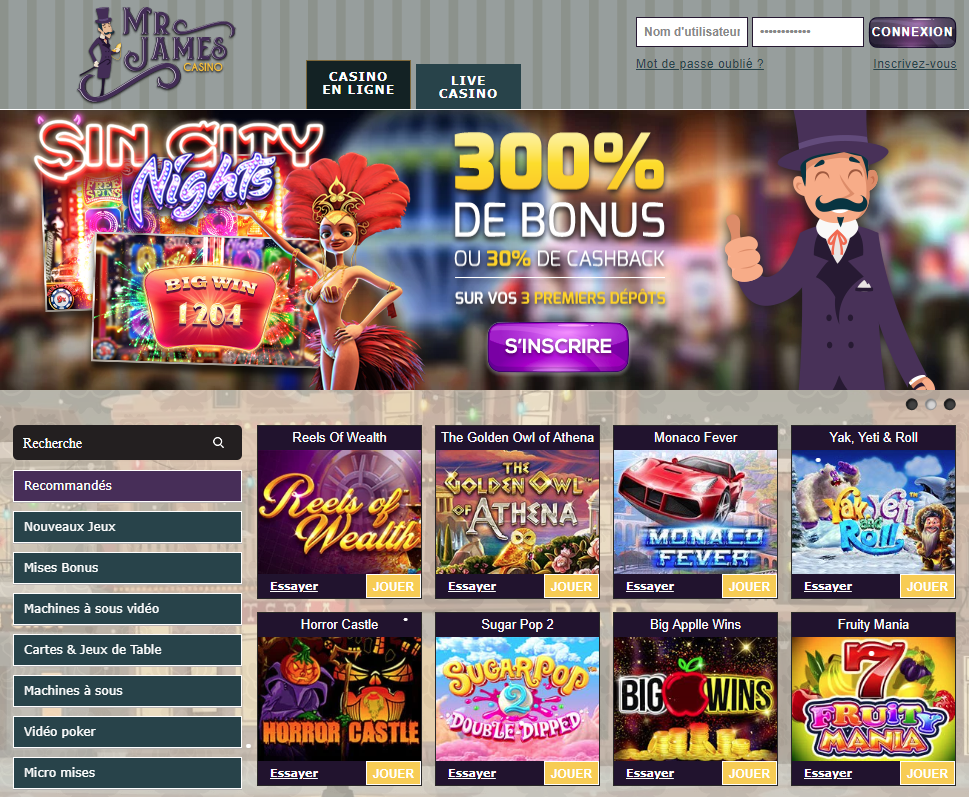mr james casino en ligne