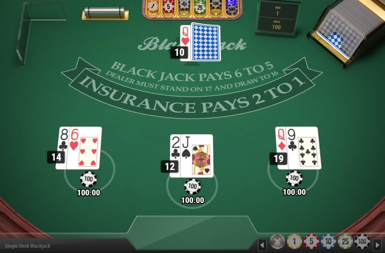 Single deck BlackJack MH